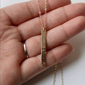 Jewelry - 14K Gold-Filled Textured Vertical Bar Necklace
